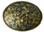 Large Oval Red, Gold and Silver Plated Belt Buckle. Code PA7